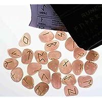 Runen Set mit gravierten Edelsteinen im Samtbeutel - Rosenquarz preisvergleich bei billige-tabletten.eu