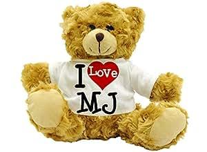 I Love MJ–Cadeau ours en peluche Nom: environ 22cm (haute)
