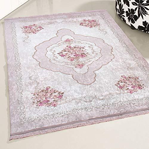 mynes Home Teppich Rose Waschbar Shabby Chic Landhausstil Designer Teppich Küche Wohnzimmer Bad etc. Waschmaschinengeeignet Vintage Design rutschhemmend (160x230) -