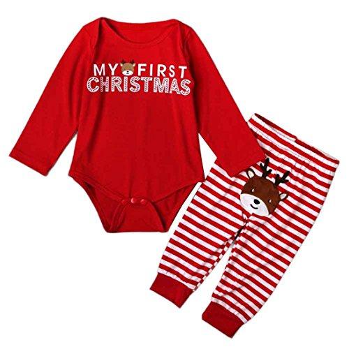 Hunpta Kostüm Kinder Mädchen Weihnachten Anzug Langarm Elch Print T-Shirt Dot Hose Outfits Set Verkleidung Karneval Party Halloween Fest (90, Rot)