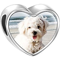 SOUFEEL Charm de Foto Personalizsdos Plata de Ley Abalorio para Pulsera o Collar en Forma de Corazón Huella de Perro para Pulsera Europea