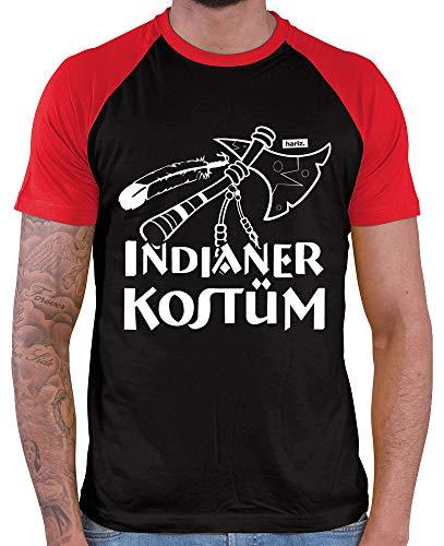 HARIZ  Herren Baseball Shirt Indianer Kostüm Karneval Kostüm Plus Geschenkkarten Black/Red XXL