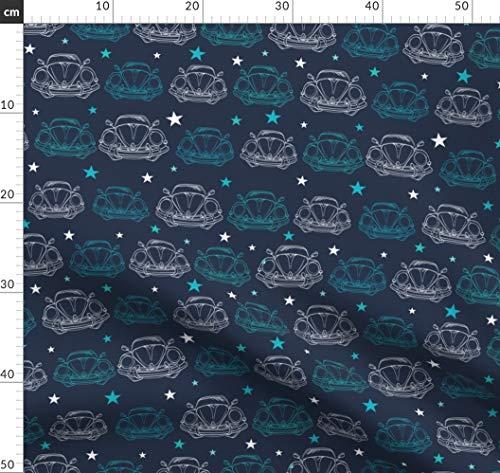 Auto, Vintage, Stoffwindel, Stern, Dunkel Stoffe - Individuell Bedruckt von Spoonflower - Design von Oksancia Gedruckt auf Baumwollstoff Klassik