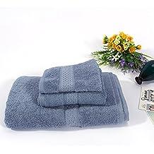 3 PCS Toallas de cara mano set de algodón puro de color puro (azul-gris)