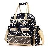 Babyhugs® 5x Fashion Mama 4-Wege-wickeln Windel Rucksack Tasche–Dunkelblau mit Weiß Punkt Polka Dots