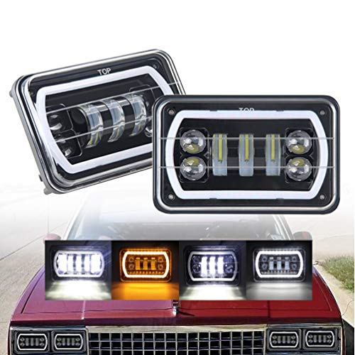RETYLY 4X6 Led Headlights With White/Amber Halo Sealed Beam For Trucks  Freightliner Peterbil Kenworth Pick-Up 4 Inchx6 Replacement H4651 H4652  H4656