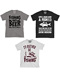 Triple Pack Of Mens Fishing / Angling Themed T-Shirts