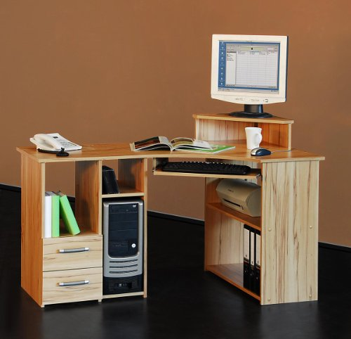 4505- 137cm – Eck-Schreibtisch – Computertisch, in kernbuche