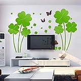 JWQT 3D-Acryl drei-dimensionalen Wand Aufkleber, Wohnzimmer Bett Fernseher Sofa Hintergrund wand Dekoration Hochzeit kreative Aufkleber, Licht grün Blumen und Schmetterlinge, Übergröße