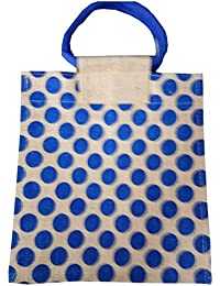 Pooja Bags Jute Carry Bag Dotted Printed Set Of 2 PCs (Blue, Size: 12*10*6 Inches)