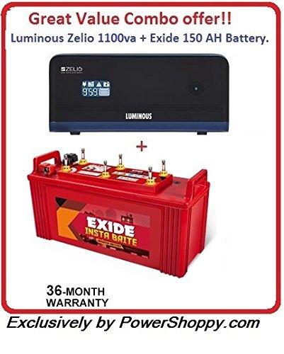 Luminous Zelio 1100va + Exide 150AH Battery Great Premium Combo offer!!