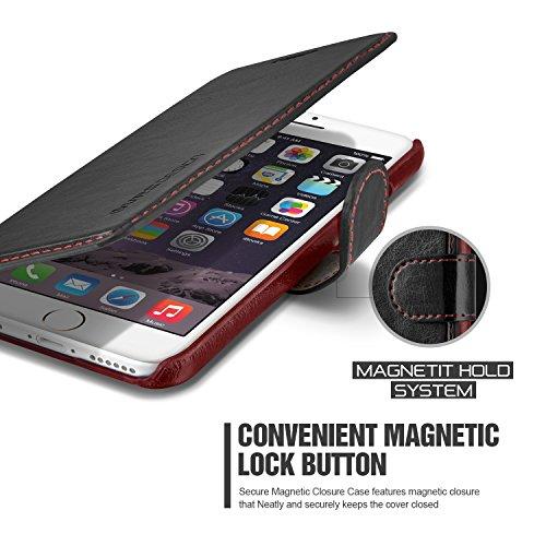 Apple iPhone 6 / 6S Handy Schutz-Hülle Dandy Layered Schwarz/Weinrot Premium PU-Ledertasche | Zubehör Smartphone Tasche | Cover mit Kartenfach | VRS Design Rundum-Schutz Case | Klappbar-Etui | glamour Schwarz/Weinrot