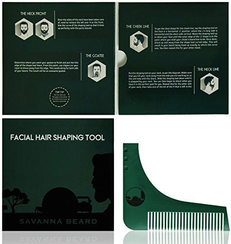SAVANNA BEARD Herramienta plantilla para peinar y recortar la barba con guía para lograr simetría perfecta al afeitar - Úsala con tijeras o navaja para arreglar tu barba y vello facial - Regalo para hombres