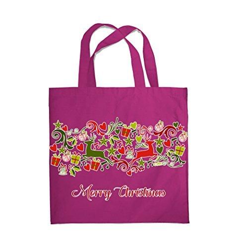 COLOUR FASHION Merry Christmas Jingle Bells Spesa Spiaggia Palestra Borsa di stoffa 0081 rosso vino Venta De Descuento De Salida Profesional Barato A La Venta El Más Barato 6wuirC0