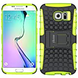 ykooe Handyhülle kompatibel für Galaxy S6 Edge Hülle, TPU Samsung S6 Edge Dual Layer Hybrid Handy Schutzhülle für Samsung Galaxy S6 Edge (Grün)