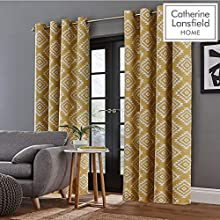 Catherine Lansfield Aztec Eyelet Curtains Ochre, 66x72Inch