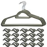 20 Stück Kleiderbügel Anzugbügel platzsparend Antirutsch Samt-Oberfläche Superdünn Kleiderbügel Set mit 20 Kleiderhaken Organizer für Kleidung/Anzug/Jacke/Krawatte, aus hochwertigem Kunststoff