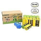 Kumoya Dog Poop sacchetti biodegradabili earth-friendly Dog sacchetti di rifiuti con dispenser e clip per guinzaglio i extra large, extra spesso, a prova di perdite,