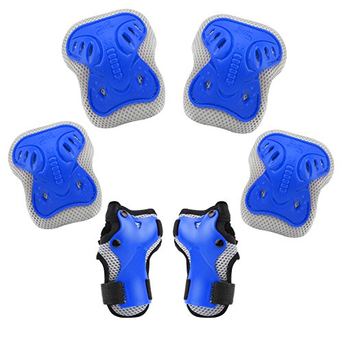 BROTOU Bambini Kit Protezione, ginocchiere, gomitiere e guanti in gel per bambini, per hoverboard, scooter, BMX e bicicletta (Blu)