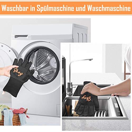 51B0of0ARPL - SKEY Grillhandschuhe Ofenhandschuhe Grill Handschuhe zubehör Hitzebeständige bis zu 800 ° C Universalgröße Kochhandschuhe Backhandschuhe für BBQ Kochen Backen und Schweißen-Klassisch Schwarz