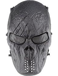 Máscara de Halloween para usar en exteriores con estilo militar de Airsoft, Paintball BB, máscara para gótcha., negro
