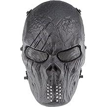 GES cara del cráneo Máscara de Airsoft Paintball al aire libre protección militar completa del partido del traje de Halloween BB pistola de Cs juego de guerra (Negro)