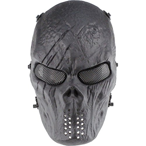 GES Schädel-Gesichtsmaske Airsoft Paintball-im Freien Militärschutz Halloween-Kostüm-Party BB Gun Cs War Game-Maske (Schwarz)