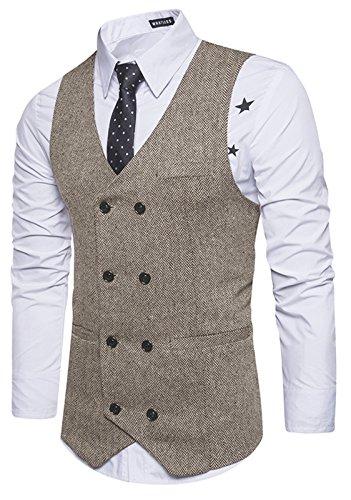 Whatlees Herren Schmale Tweed Weste aus strukturiertem Material mit zweireihige Knopfleiste und strukturierter Tweed B729-Khaki-L (Herren Tweed)