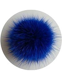 ERaBLe(TM) Shoe Clips for Women Shoes Decoration with Fur pom pom 1 pair(Blue)