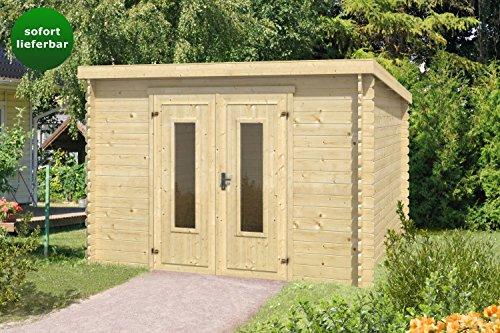 Gartenhaus G131 - 28 mm Blockbohlenhaus, Grundfläche: 8,53 m², Pultdach