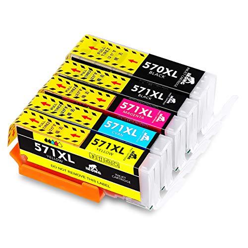 IKONG Ersetzt für Canon 570 571 PGI-570 CLI-571 Patronen Kompatibel für Canon Pixma TS5050 MG5750 TS5055 TS6050 MG6850 MG5751 MG6851 TS5051 TS5053 (1 PGBK, 1 Schwarz, 1 Cyan, 1 Magenta, 1 Gelb)