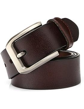 KeeCow Cinturones Para Hombre,Correa de Hebilla de Pin de Aleación Para Jeans,Trajes, Ropa Informal y Formal,Café...