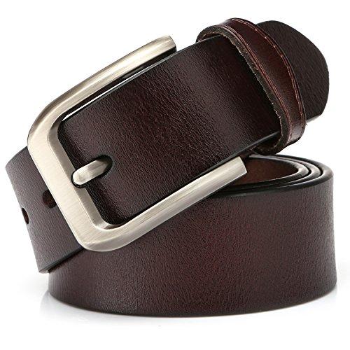KeeCow Cinturón de Cuero Hombre,Correa de Hebilla de Pin de Aleación Para Jeans,Trajes, Ropa Informal y Formal,Café/Negro,Se Ajusta a Una Cintura De 48 Pulgadas (125cm( 40'- 48'), tipo 3 café)