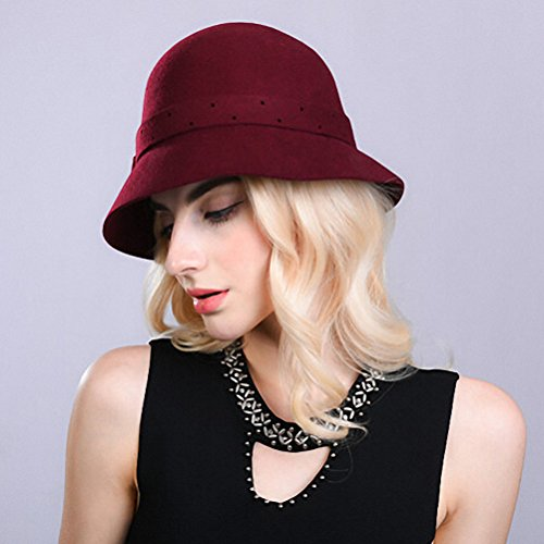 Maitose® Bow Fleurs Laine Femmes Felt Bowler Hat Floppy Vin rouge