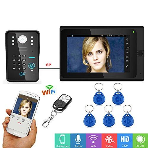 JINPENGPEN 7 Pulgadas de vídeo Inteligente Timbre WiFi RFID contraseña Video Portero...