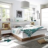 Set Doppelbett FOREST 180 x 200cm Wildeiche Weiß inkl. 2 Nachtkommoden Bett und Nachttische