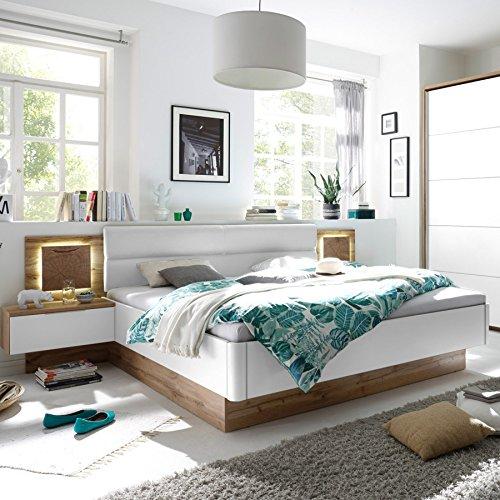 Set Doppelbett FOREST 180 x 200cm Wildeiche Weiß inkl. 2 Nachtkommoden Bett und Nachttische -