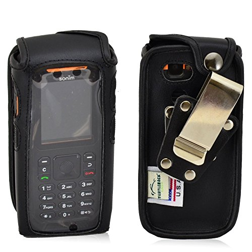 Turtleback Sonim XP 3405 Shield Ausgestattet Case mit Heavy Duty rotierenden Metall-Gürtelclip - Made in USA, Black Leather Case/Metal Clip Rip-offs Handy-fall