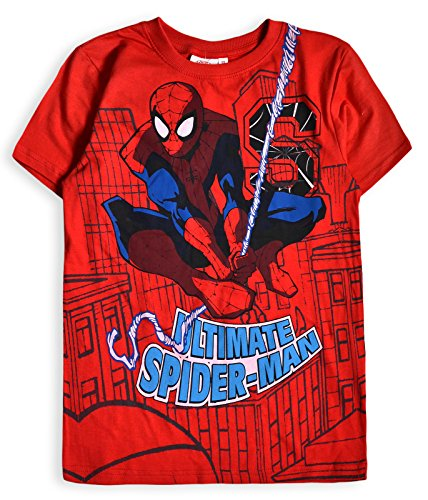 Marvel Boys Spiderman Short Sleeved 100% Cotton Top Red 2-3 Years