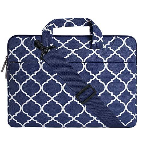 MOSISO Notebooktasche Kompatibel 13-13,3 Zoll MacBook Pro, MacBook Air, Notebook Computer Canvas Geometrisches Muster Laptoptasche Sleeve Hülle mit Griff und Schulterriemen, Navy Blau Quatrefoil