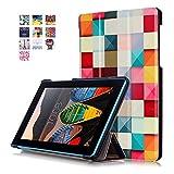 Lenovo Tab3 7 Essential Hülle, PU Ledertasche Flip Case Smart Cover und Back Hülle für Lenovo Tab 3 710F / Tab 3 7 Essential (7 Zoll) Tablet Tasche Leder Etui Schutzhülle mit Standfunktion (#2 Bunte Würfel)