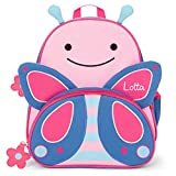 Skip Hop Rucksack mit Namen für Kinder | Motiv Schmetterling in blau & rosa für Mädchen | Kindergarten-Rucksack mit Tieren | inkl. Namensdruck personalisiert & Bedruckt