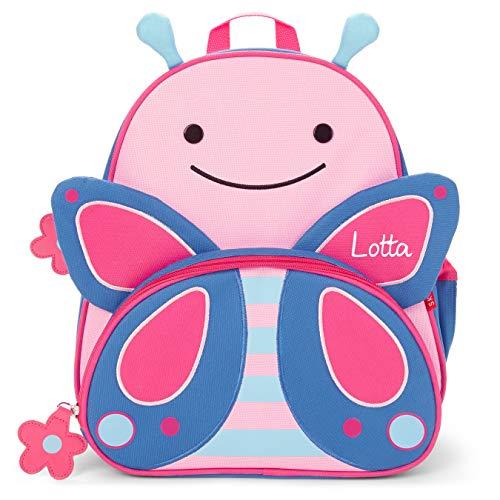 *Skip Hop Rucksack mit Namen für Kinder | Motiv Schmetterling in blau & rosa für Mädchen | Kindergarten-Rucksack mit Tieren | inkl. Namensdruck personalisiert & Bedruckt*