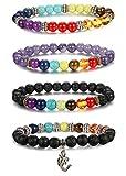 Milacolato 4pcs Männer Frauen 7 Chakras Perlen Armband Lava Rock Armbänder Naturstein Yoga Armband Armreif 8MM
