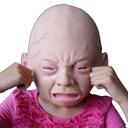 weinendes baby Kopfmaske Latex mit Kunsthaar - Einheitsgröße für Erwachsene