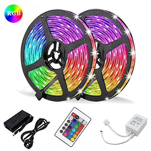 RGB SMD 3528 LED Strips Light - MASO 10M LED Color Changing Rope Lights+24key IR Remote Controller Kit+12V 5A Power Supply for Car Home Christmas Wedding Party DIY Decoration