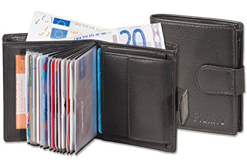 Platino - Portafoglio Super moderno con 18 tasche trasparenti di carte di credito di plastica e di altissima qualità, in pelle non trattata con nero