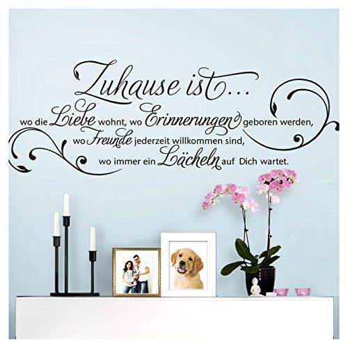Grandora Wandtattoo Zitat Zuhause ist wo die Liebe wohnt I schwarz (BxH) 120 x 42 cm I Wohnzimmer Flur Diele Aufkleber Wandaufkleber Wandsticker Sticker W942