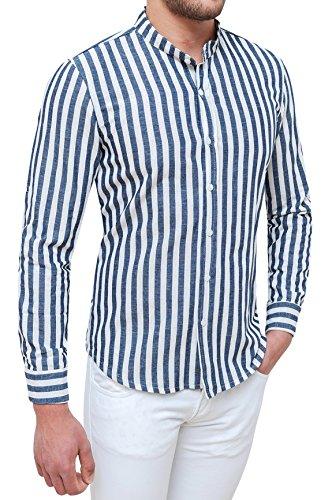 Evoga camicia uomo sartoriale in lino bianco blu rigata casual estiva (s)