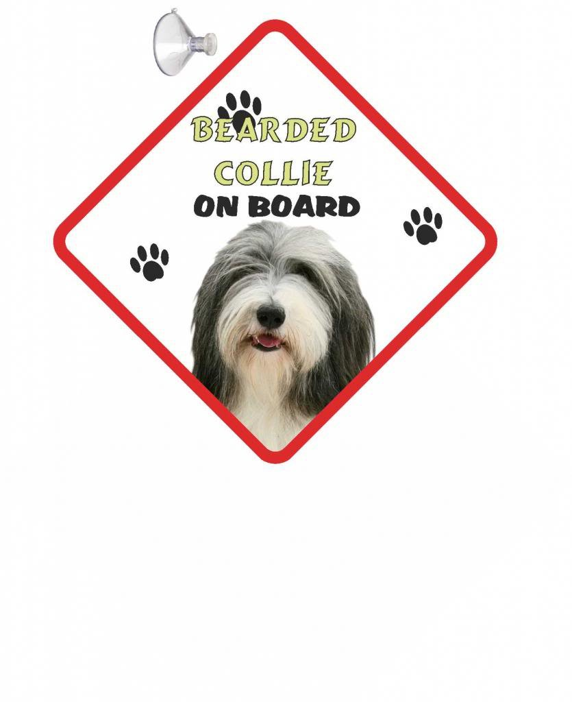 The Lazy Cow Bearded Collie DOG HANGING CAR SIGN with Rubber Sucker 25